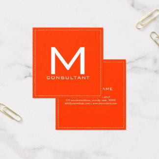 Carte De Visite Carré Monogramme professionnel Coquelicot moderne