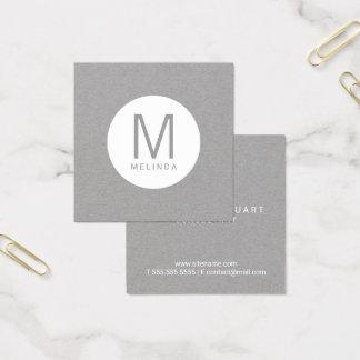 Carte De Visite Carré Monogramme professionnel moderne gris et blanc