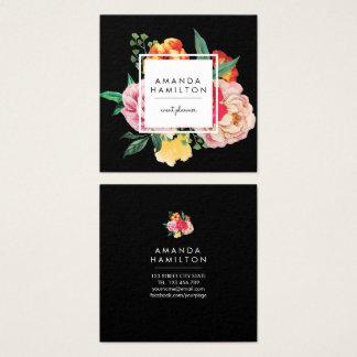 Carte De Visite Carré NOIR floral de pivoine chique moderne d'aquarelle