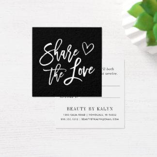 Carte De Visite Carré Partagez la référence noire et blanche de l'amour