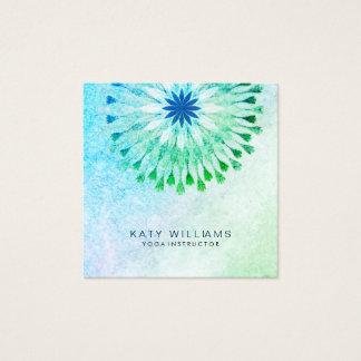Carte De Visite Carré Plage turquoise d'aquarelle de fleur de Lotus