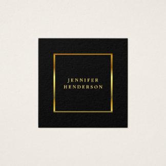 Carte De Visite Carré Professionnel élégant moderne de noir et d'or