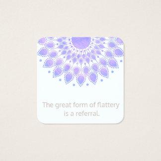 Carte De Visite Carré Référence de client de mandala de fleur de Lotus
