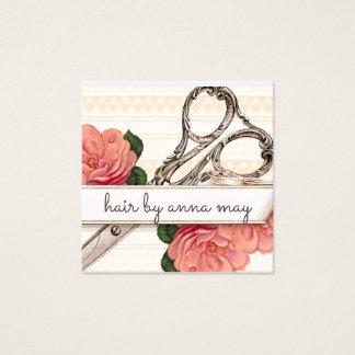 Carte De Visite Carré rose floral vintage de coiffeur de styliste en