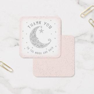 Carte De Visite Carré Scintillement d'étiquette de Merci peu de rose de