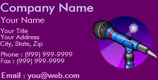 Carte De Visite Chanteur Professionnel