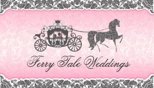 Carte De Visite Cheval Et Chariot Roses Noirs Mariage