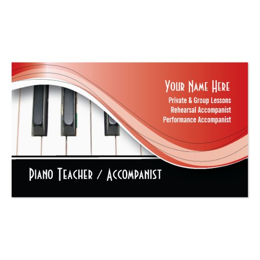Carte de visite chic de professeur de piano