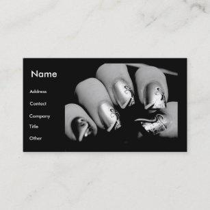 Carte De Visite Clous Manucure Dans Noir Et Le Blanc