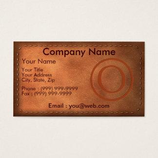 carte de visite cuir lettre O