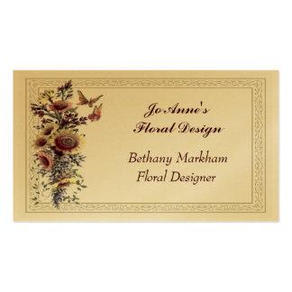 Carte de visite d or de bouquet floral