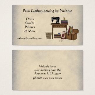 Carte de visite de couture rustique d'arts
