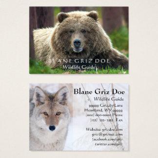 Carte de visite de faune d'ours et de coyote de