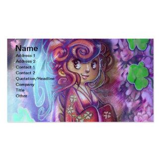 Carte de visite de geisha de trèfles et de fleurs