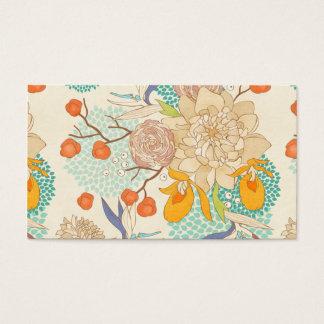 Carte de visite de motif de fleur de pivoine