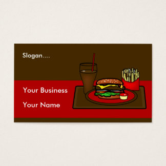 Carte de visite de plateau d'hamburger
