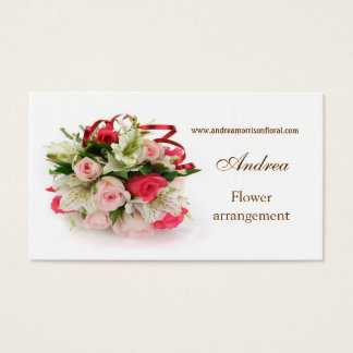 Carte de visite de profil de roses et de lis