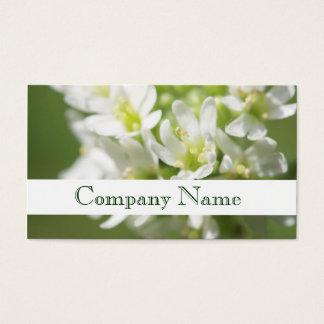 Carte de visite de salon de fleurs blanches de