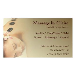 Carte de visite de thérapeute de massage