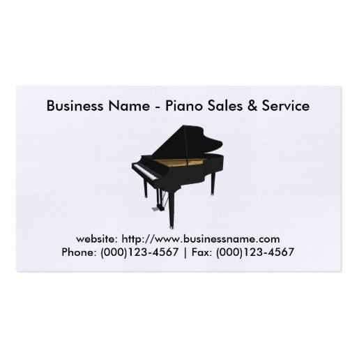 Carte de visite de ventes de piano : Modèle du pia