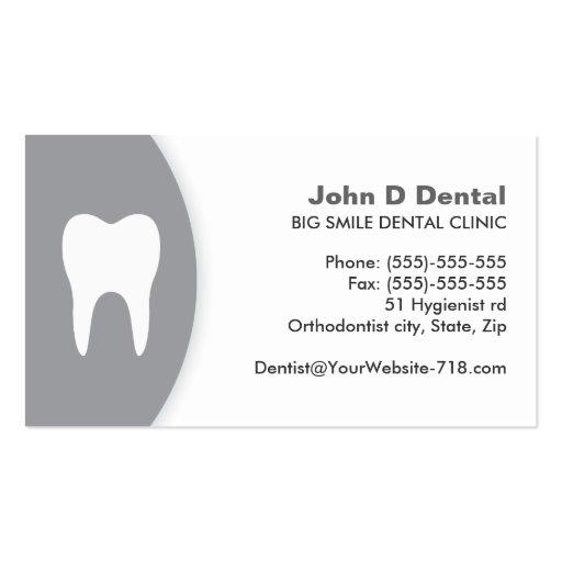 Carte de visite dentaire gris et blanc de dentiste