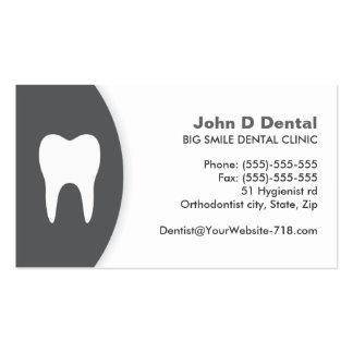 Carte de visite dentaire gris-foncé et blanc de de