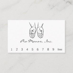 Carte De Visite Deux Mains Ouvertes Noires Et Blanches