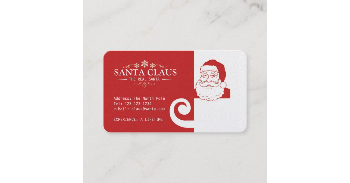 Carte de visite du père noël | Zazzle.fr