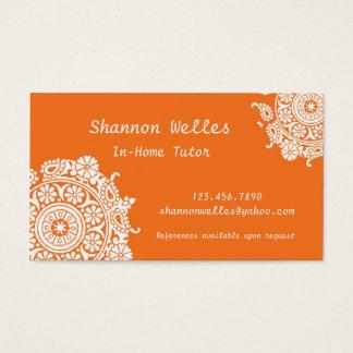 Carte de visite élégant dans orange et blanc