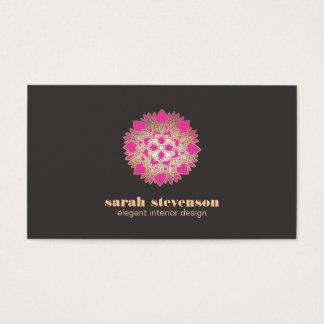 Carte de visite élégant de Lotus de rose de design