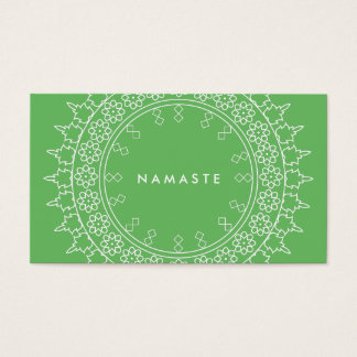Carte de visite élégant de vert de yoga de Namaste
