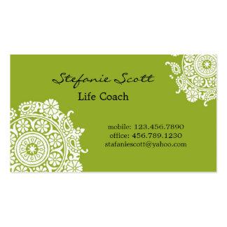 Carte de visite élégant en vert et blanc de chaux