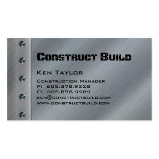 Carte de visite en métal d'entrepreneur de constru