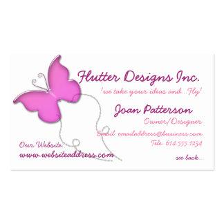 Carte de visite en verre rose de papillon de Whimi