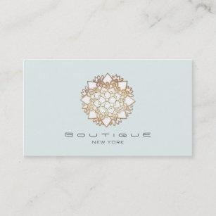 Carte De Visite Fleur Lotus Blanc Chic Boutique Bleu Clair