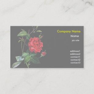 Carte De Visite Fleur Rose Rouge Pierre Joseph Redoute