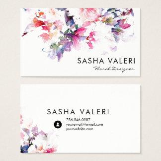 Carte de visite floral d'aquarelle