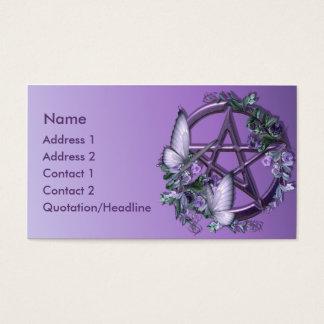 Carte de visite floral pourpre de pentagone étoilé