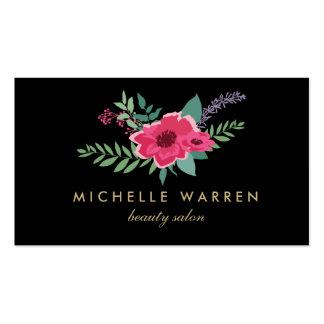 Carte de visite floral rose élégant du salon II