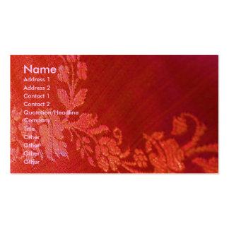 Carte de visite floral rouge de l'artiste I d'élég