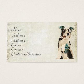 Carte de visite floral vintage bleu de chien
