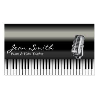 Carte de visite foncé chic de professeur de piano