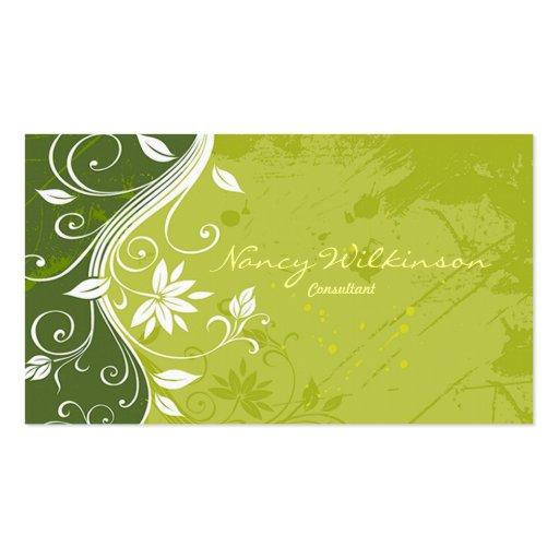 Carte de visite grunge floral vert