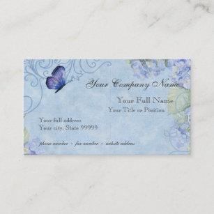 Carte De Visite Hortensias Bleus Papillon Et Floral Moderne