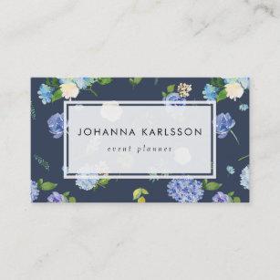 Carte De Visite Hortensias Et Pivoines Bleus Daquarelle
