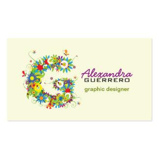 """Carte de visite initial floral du monogramme """"G"""""""