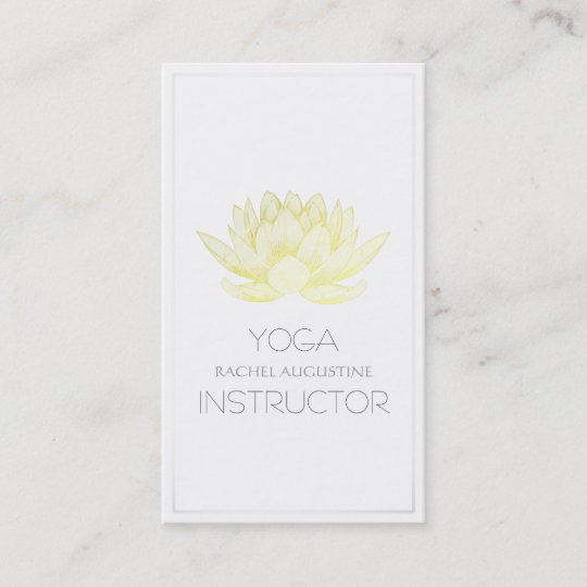 Carte De Visite Instructeur Lgant Yoga Lotus Blanc Et