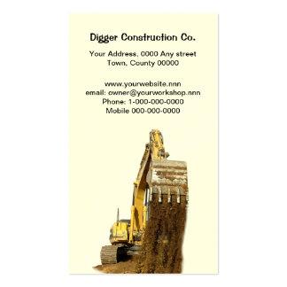 Carte de visite jaune d'excavatrice