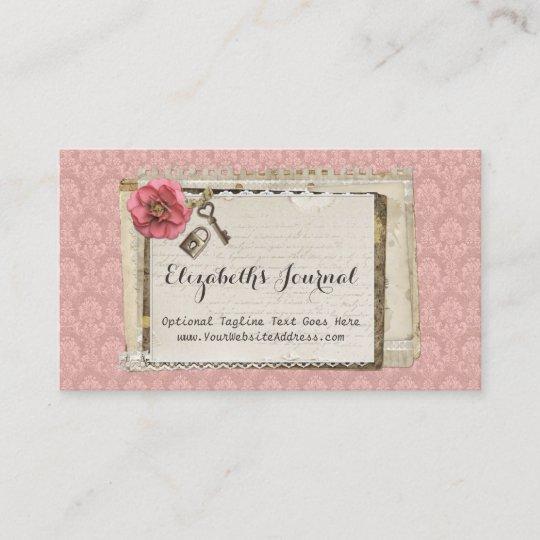 Carte De Visite Journal Victorien Rose Chic Minable Rustique