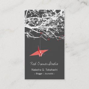Carte De Visite Le Papier Rouge Japonais Dorigami Tend Cou